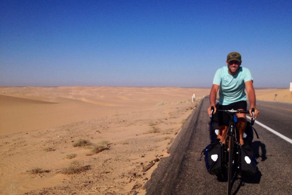 Rob Cycling in Desert