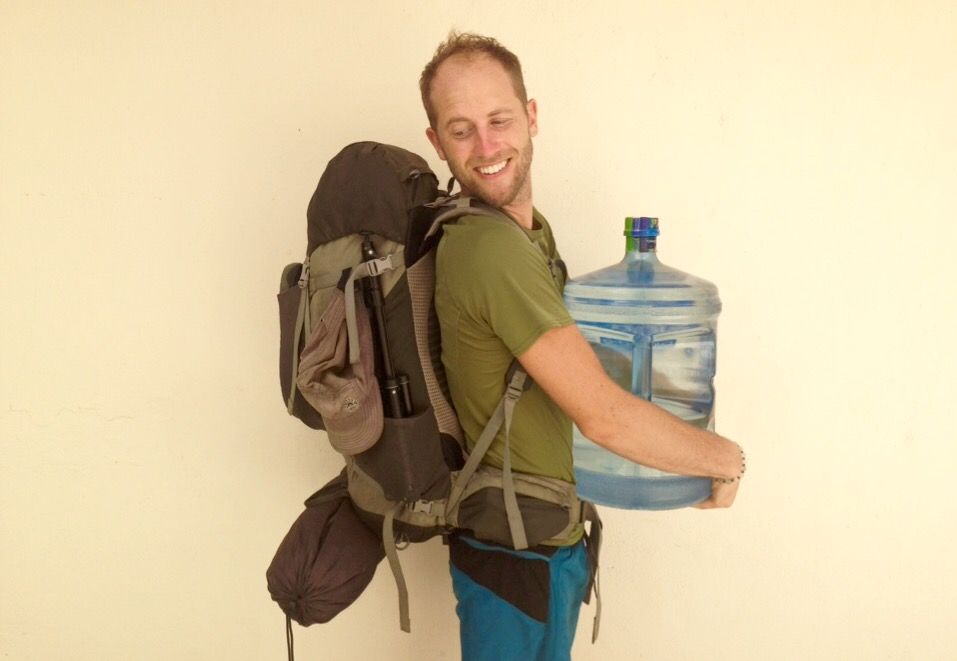 My 111 Possessions- in bacpack with jug